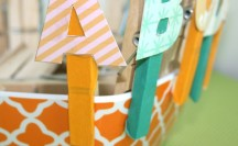 Washi Tape Clothespin Letters #washi #washitape