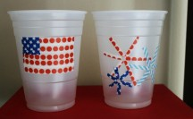 Patriotic Washi Tape Cups; for more washi projects and inspiration visit thewashiblog.com | #washi #washitape #patriotic #4thofjuly