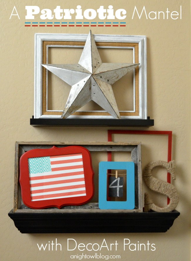 Patriotic Mantel with Washi Tape Flag; for more washi projects and inspiration visit thewashiblog.com | #washi #washitape #patriotic #4thofjuly