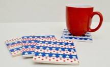 Patriotic Washi Tape Coasters; for more washi projects and inspiration visit thewashiblog.com | #washi #washitape #patriotic #4thofjuly