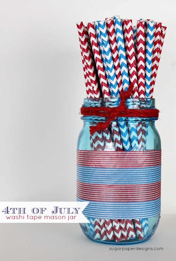 4th of July Washi Tape Mason Jar; for more washi projects and inspiration visit thewashiblog.com | #washi #washitape