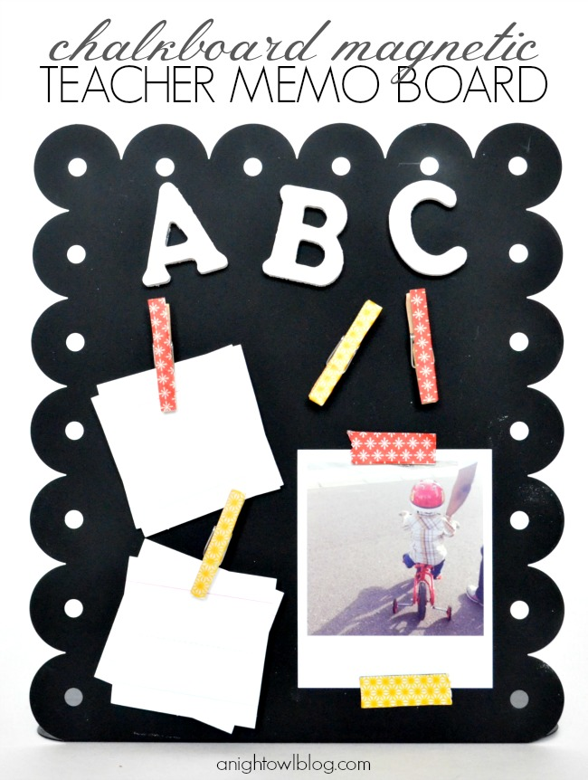 Chalkboard Teacher Memo Board with Washi Magnets; for more washi projects and inspiration visit thewashiblog.com | #washi #washitape #backtoschool