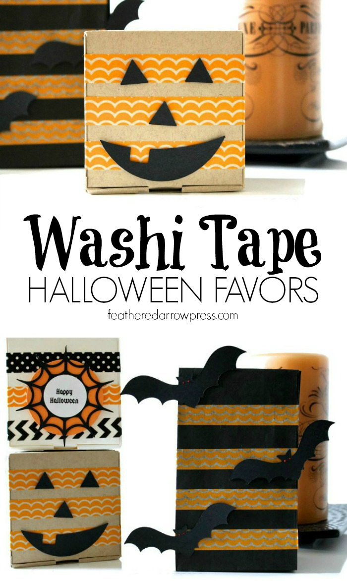 Washi Tape Halloween Favors | For more washi projects and inspiration visit thewashiblog.com | #washi #washitape #halloween #favors
