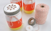 Candy Corn Mason Jar Luminaries with Washi Tape Lids | For more washi projects and inspiration visit thewashiblog.com | #washi #washitape #candycorn