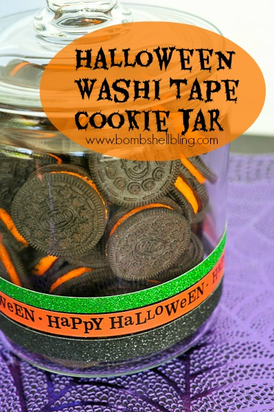 Halloween Washi Tape Cookie Jar | For more washi projects and inspiration visit thewashiblog.com | #washi #washitape #halloween