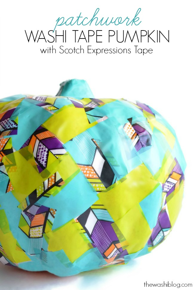 Patchwork Washi Tape Pumpkin with #ExpressionsTape #WashiTape