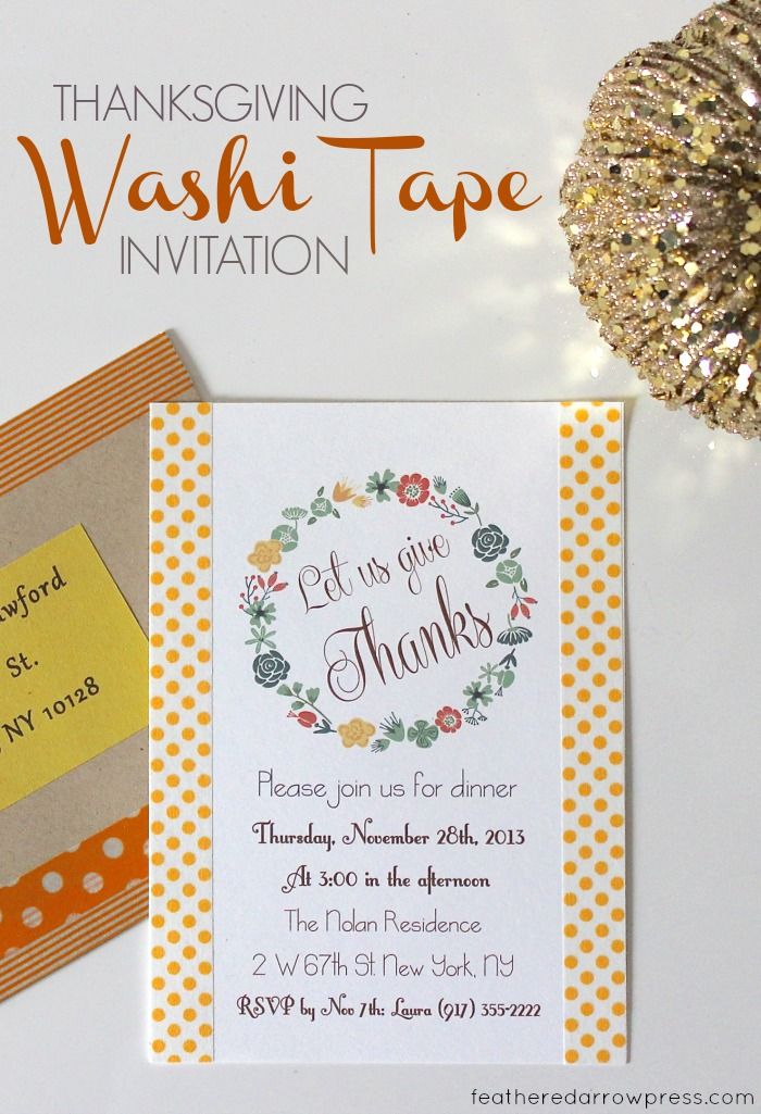 Thanksgiving Washi Tape Invitations | For more washi projects and inspiration visit thewashiblog.com | #washi #washitape #thanksgiving