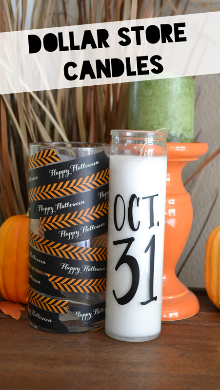 Halloween Washi Tape Candles | For more washi projects and inspiration visit thewashiblog.com | #washi #washitape #halloween