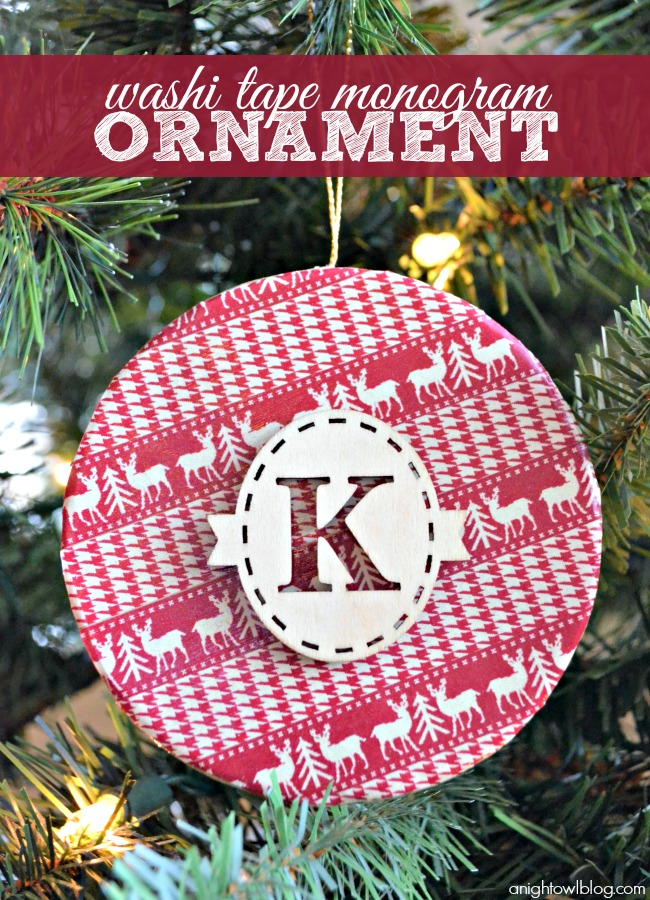 Washi Tape Monogram Ornament  | For more washi projects and inspiration visit thewashiblog.com | #washi #washitape #Christmas #ornament