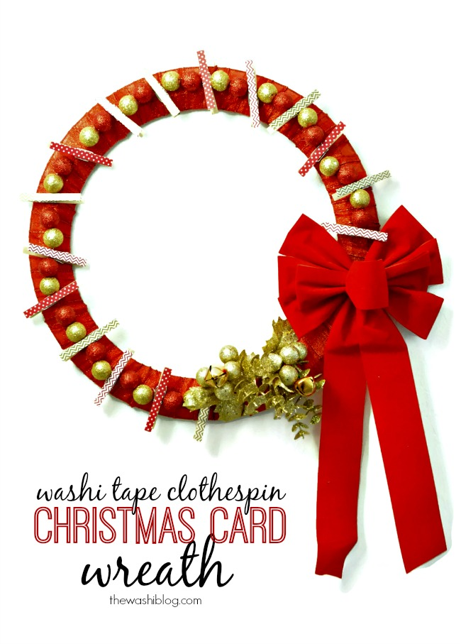 Washi Tape Clothespin Christmas Card Wreath | For more washi projects and inspiration visit thewashiblog.com | #washi #washitape #Christmas
